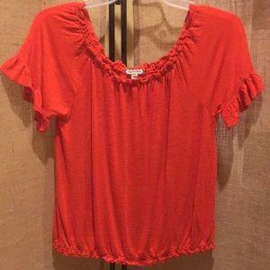 Eyeshadow deep orange blouse